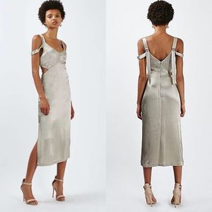 ❤️Topshop Cold Shoulder Cut-Out Midi Dress